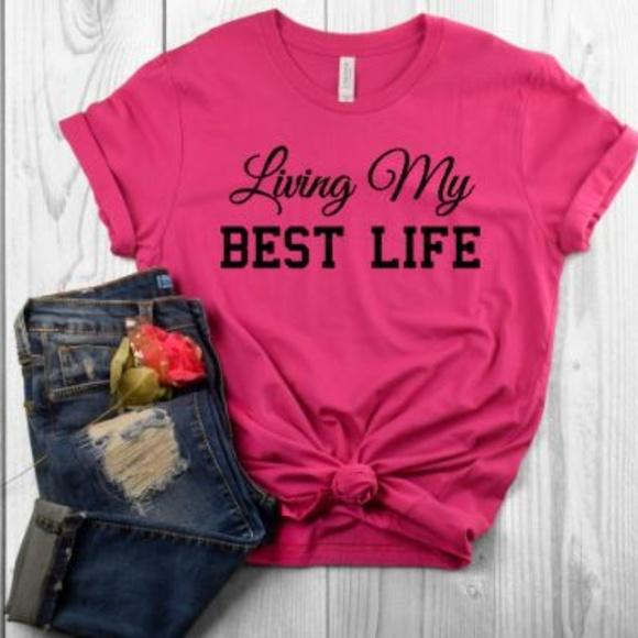 952238a02 Plum Creek Boutique Tops | Living My Best Life Tshirt Graphic Pop ...